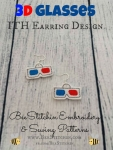 3D Glasses ITH Earrings - 4x4 Embroidery Design